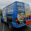 Digitally printed vehicle wrap <br/>This customer wanted to advertise both his businesses on the same van. So one half was dedicated to Hot Tubs and the other to Bouncy Castles.   Printed onto a top quality film to reach inside all of the corrugations of the vehicle, and more importantly stay there.